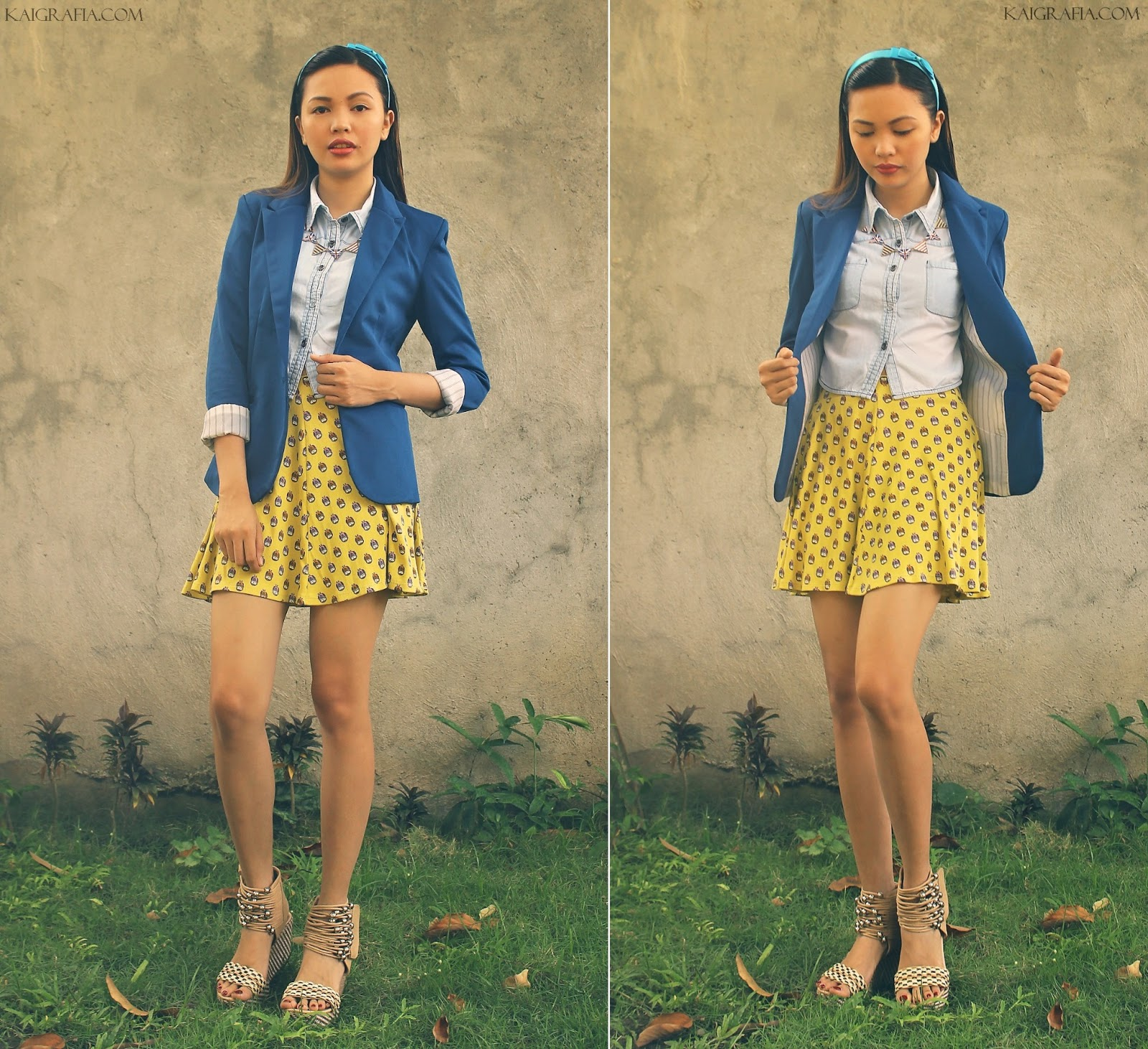 how to wear skater skirts with blazer