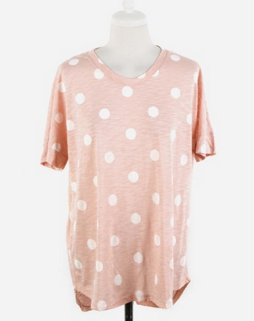Women Slub Cotton Dot Printing Loose Fit T-Shirt