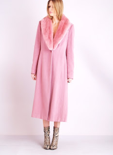 Vintage Guy Laroche pink cashmere maxi coat with fur trim and single button front closure.