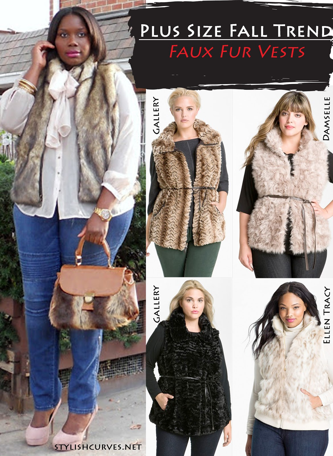 fall trend: plus size faux fur vests | stylish curves