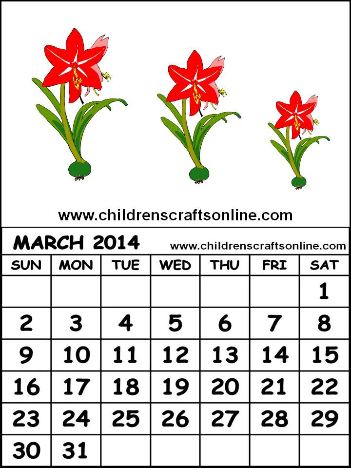 Cute March 2014 Calendar Printable Cute Printable 2014 Calendar