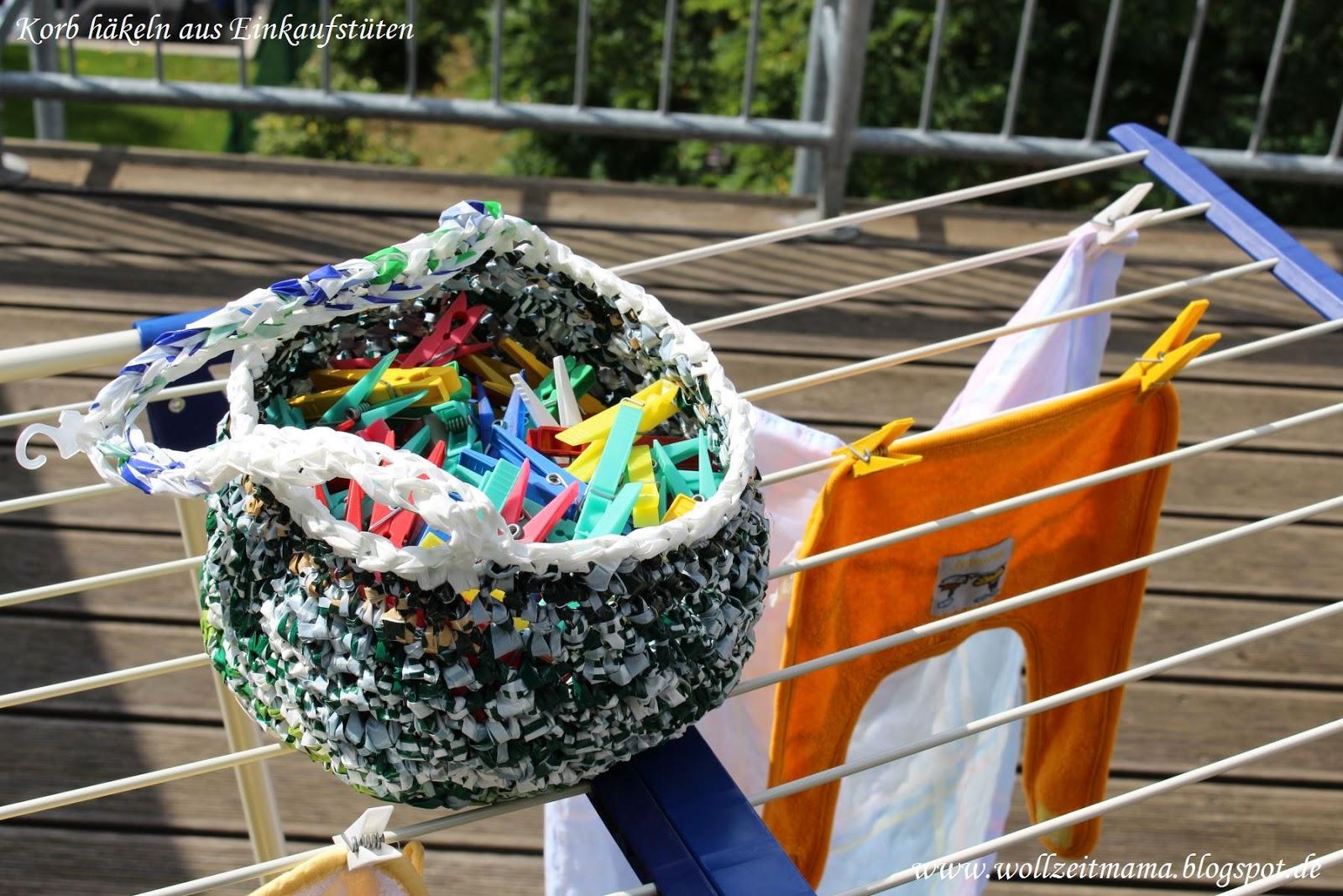 Korb häkeln aus Tüten, Anleitung kostenlos