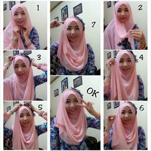Cara memakai jilbab segi empat modis
