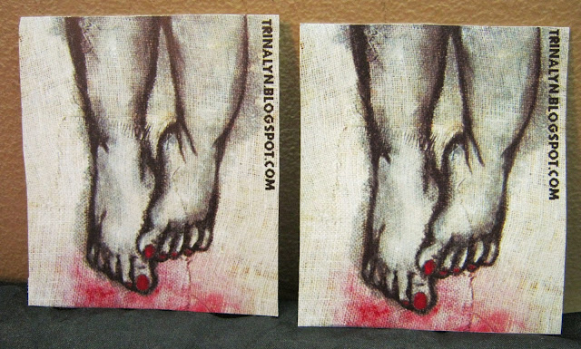 original art sticker painting burlap feet acrylics
