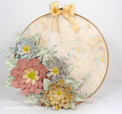 Paper Flower Embroidery Hoop Decor | popperandmimi.com