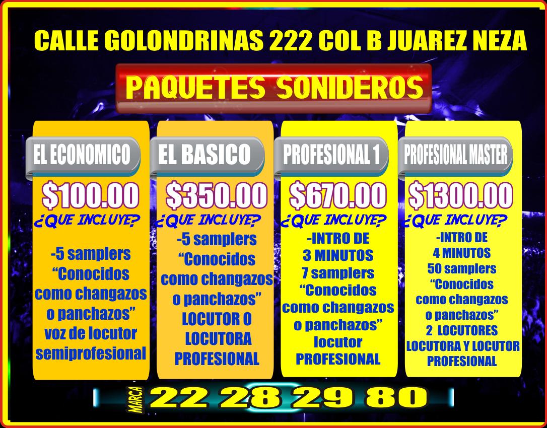 PRECIO DE LOS PAQUETES