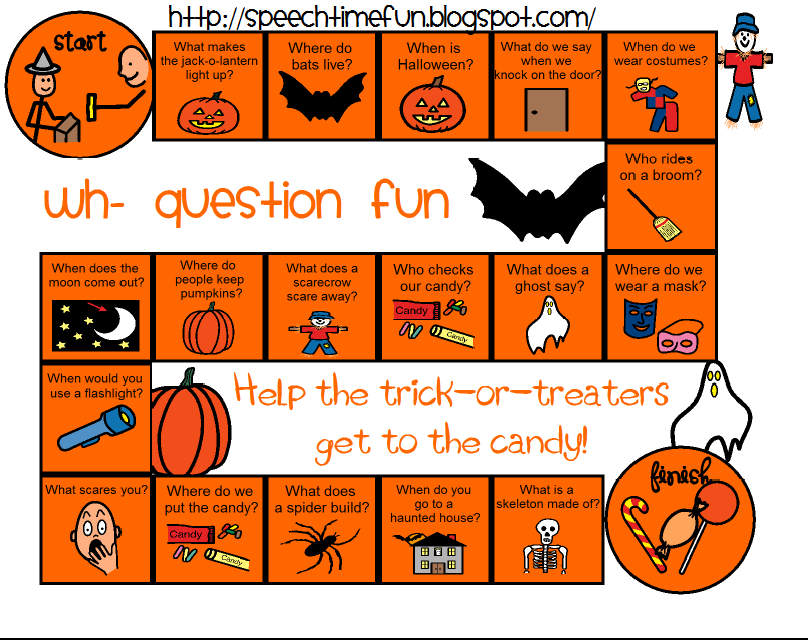 Speech Time Fun: Halloween Wh- Board Game (Freebie)