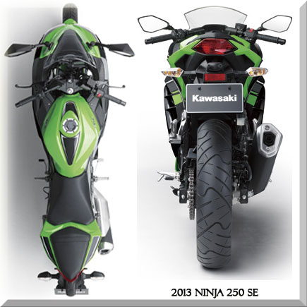 2013 Ninja 250R rear side and top view