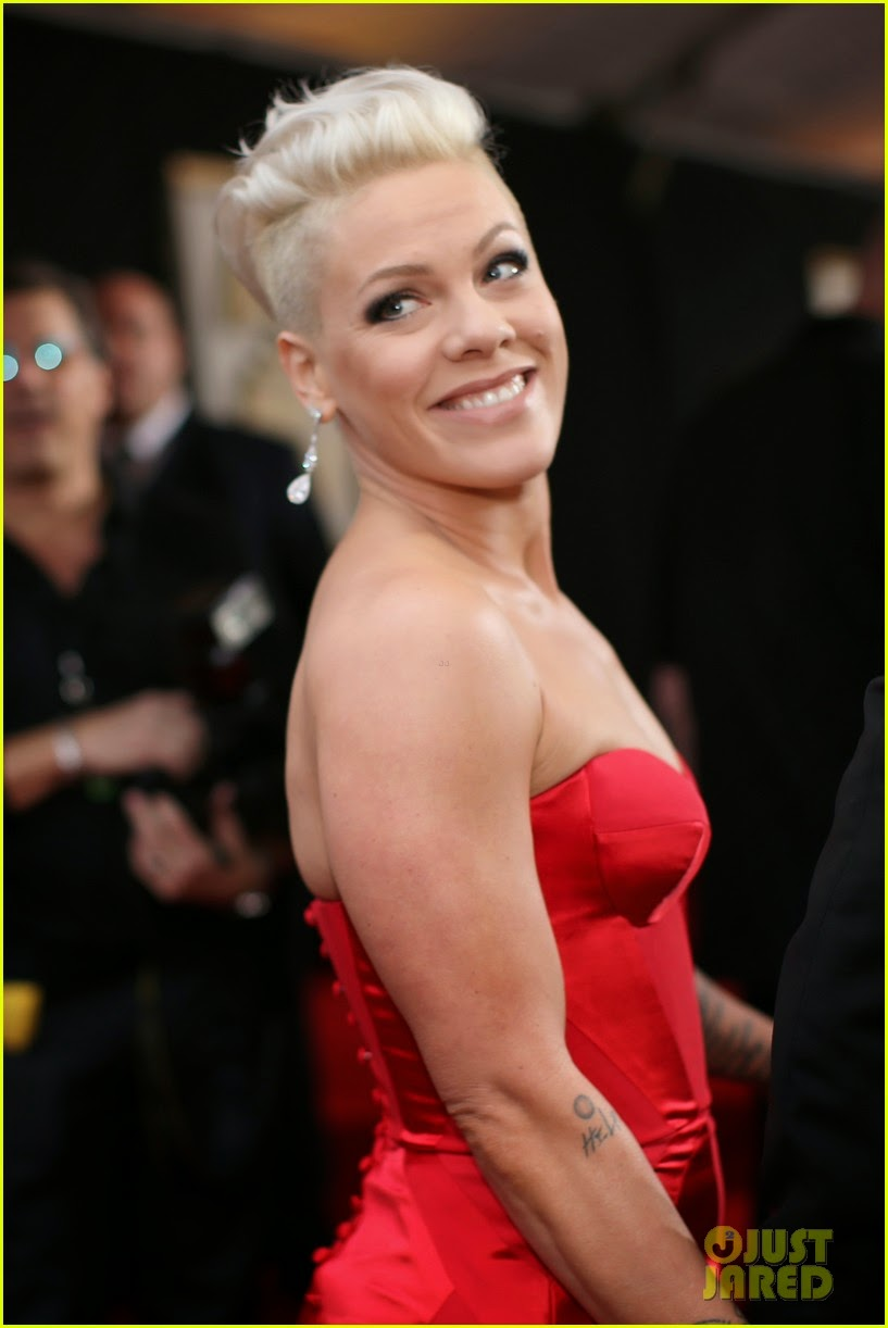 celeb diary pink rocks a red dress on the red carpet at