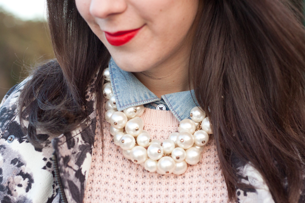 preppy layers with a pearl statement necklace
