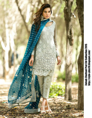 silver-dress-with-teal-colored-dupatta-zainab-chottani-eid-pret-2015