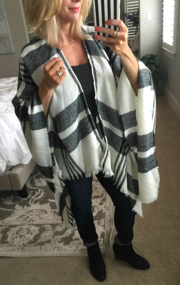 Fall Fashion - BP Plaid Poncho with booties