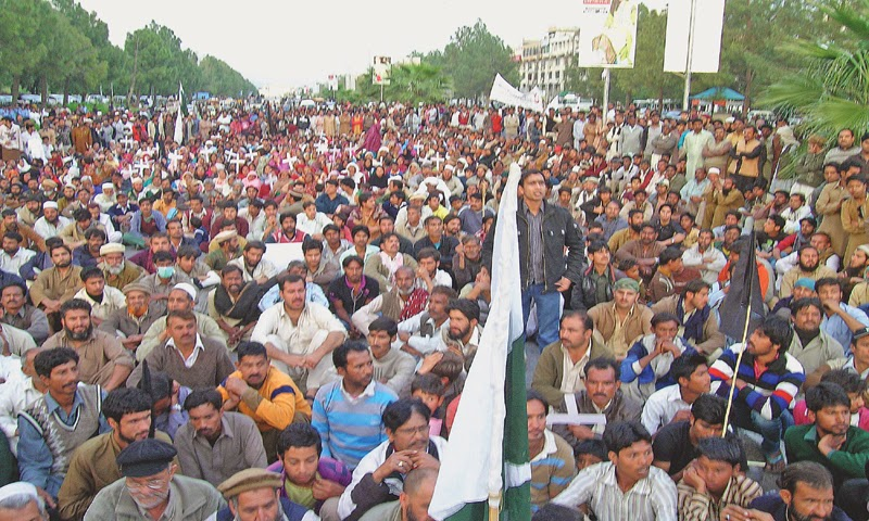 Katchi abadi dwellers protest against CDA.