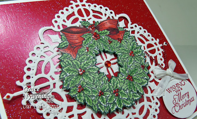 ODBD products, Holly Wreath, Custom Fancy Corner Dies, designed by Grace Nywening