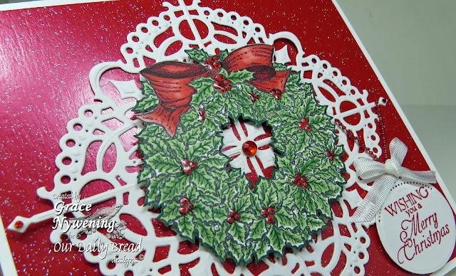 ODBD products, Holly Wreath, Custom Fancy Corner Dies, designed by Grace Nywening