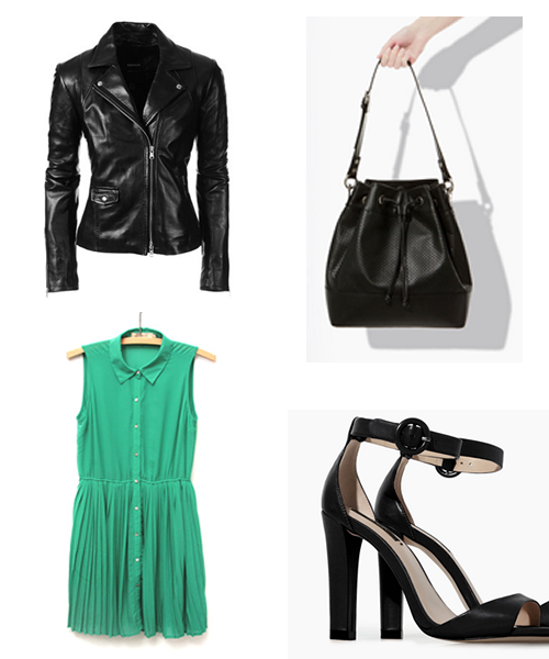 How to wear a pleated summer dress: black and leather take this dress to night