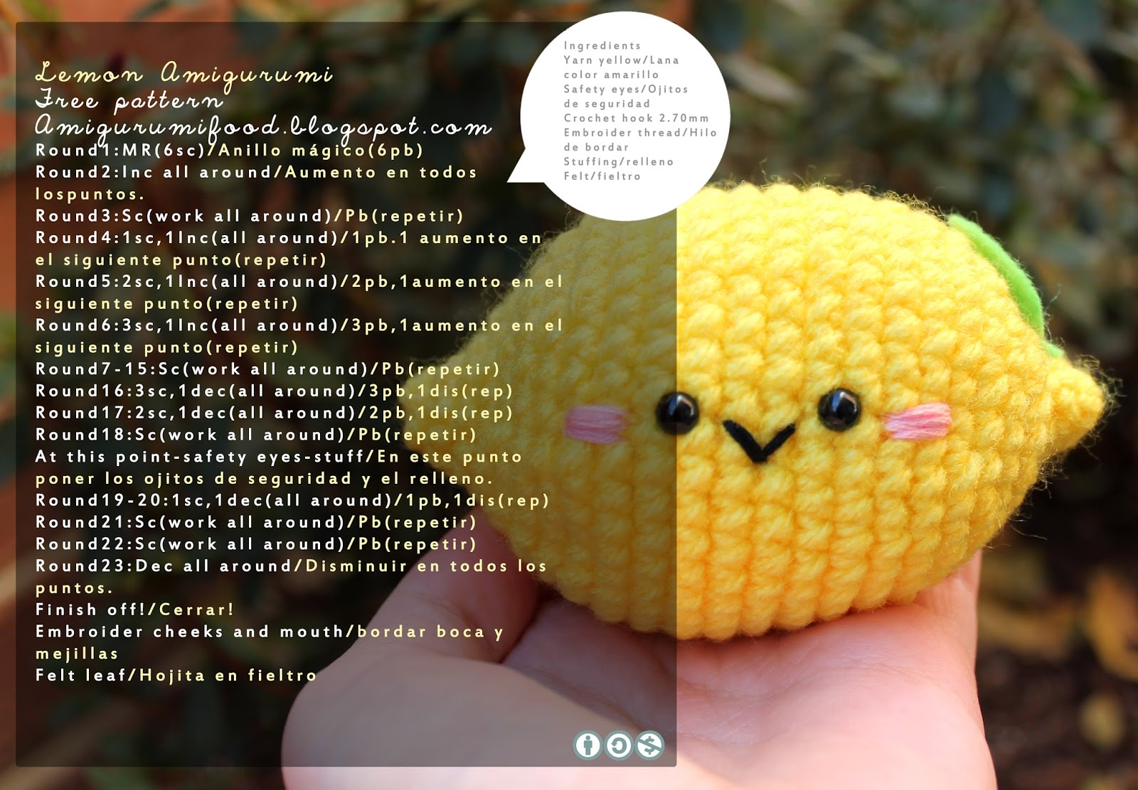 Amigurumi Lemon : Amigurumi Food: Lemon cute Amigurumi Free pattern!