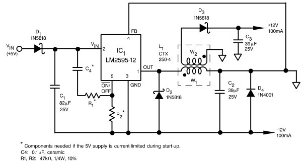 5vdc single polarity to 12vdc dual polarity converter