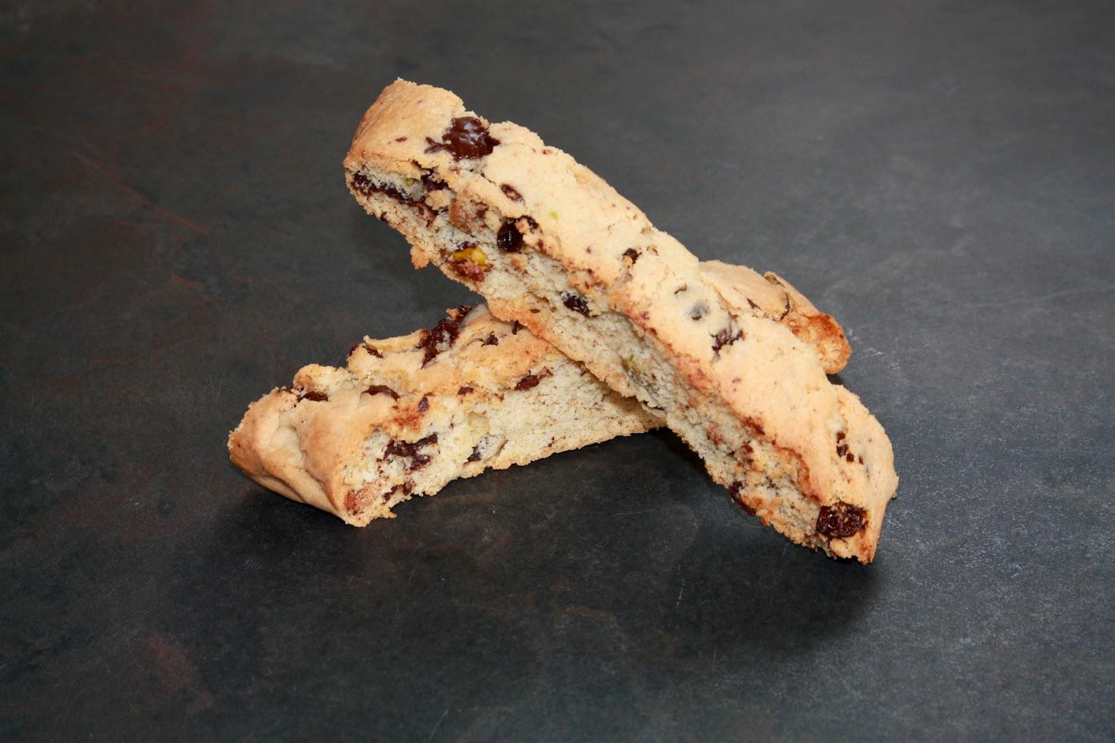Dark chocolate, raisin and pistachio biscotti, Christmas baking, GBBO ...