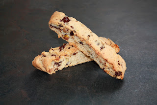 Dark chocolate, raisin and pistachio biscotti