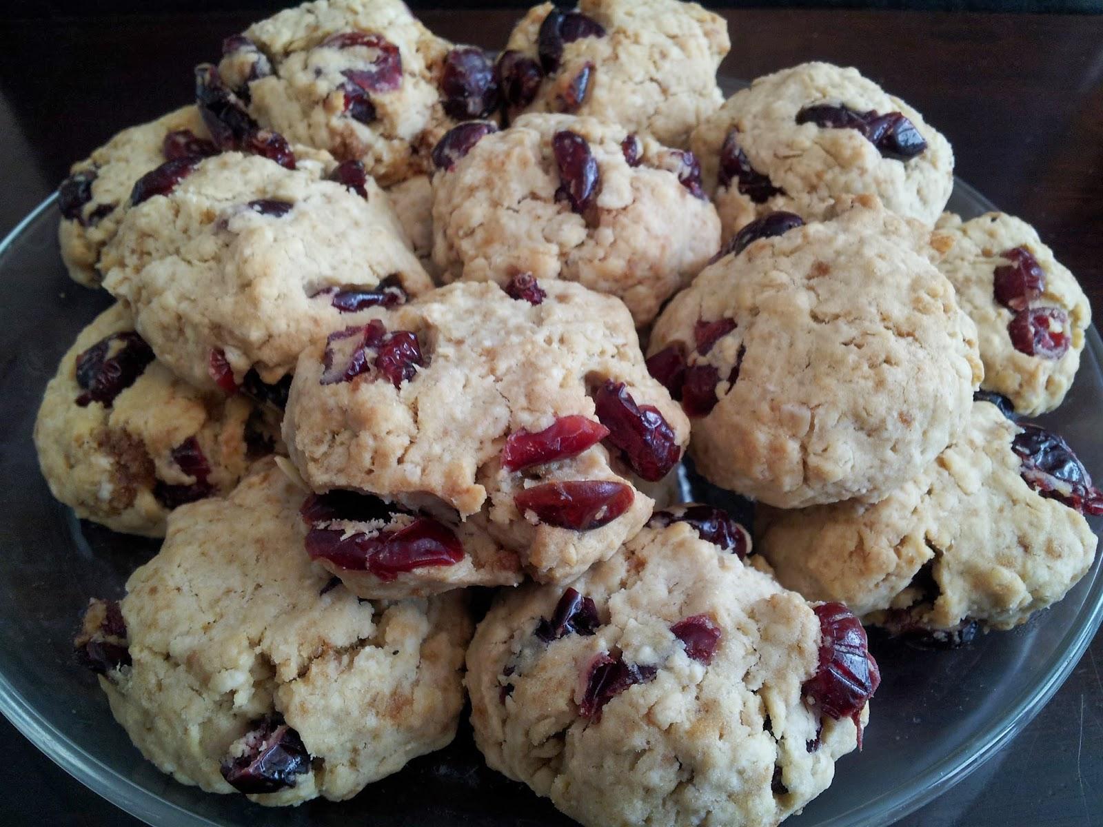 oatmeal raisin cranberry cookies, baking