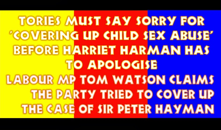 Mr Watson claims the Conservatives tried to cover up the case of diplomat Sir Peter Hayman who was