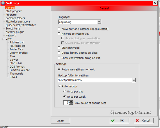 free commander file manager settings