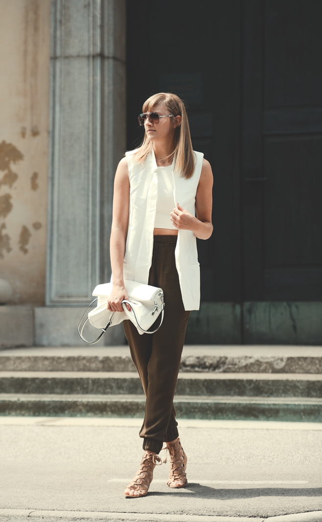 white vest, white crop top choies, green high waisted zara pants, hm nude lace up sandals, blogger outfit