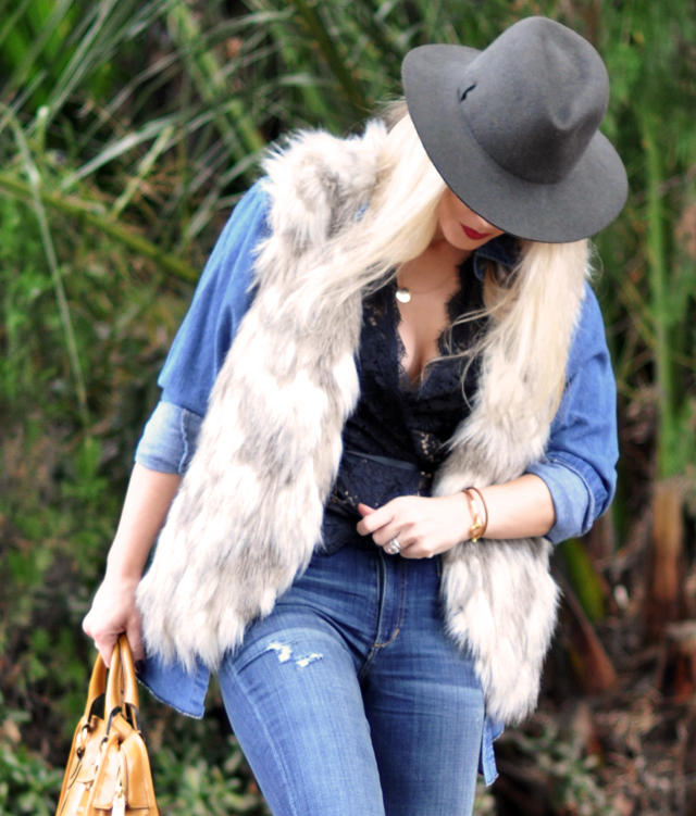 denim on denim, fur vest, wellie rain boots