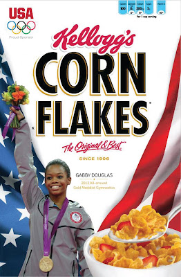Gabby Douglas on Corn Flakes Cereal Box