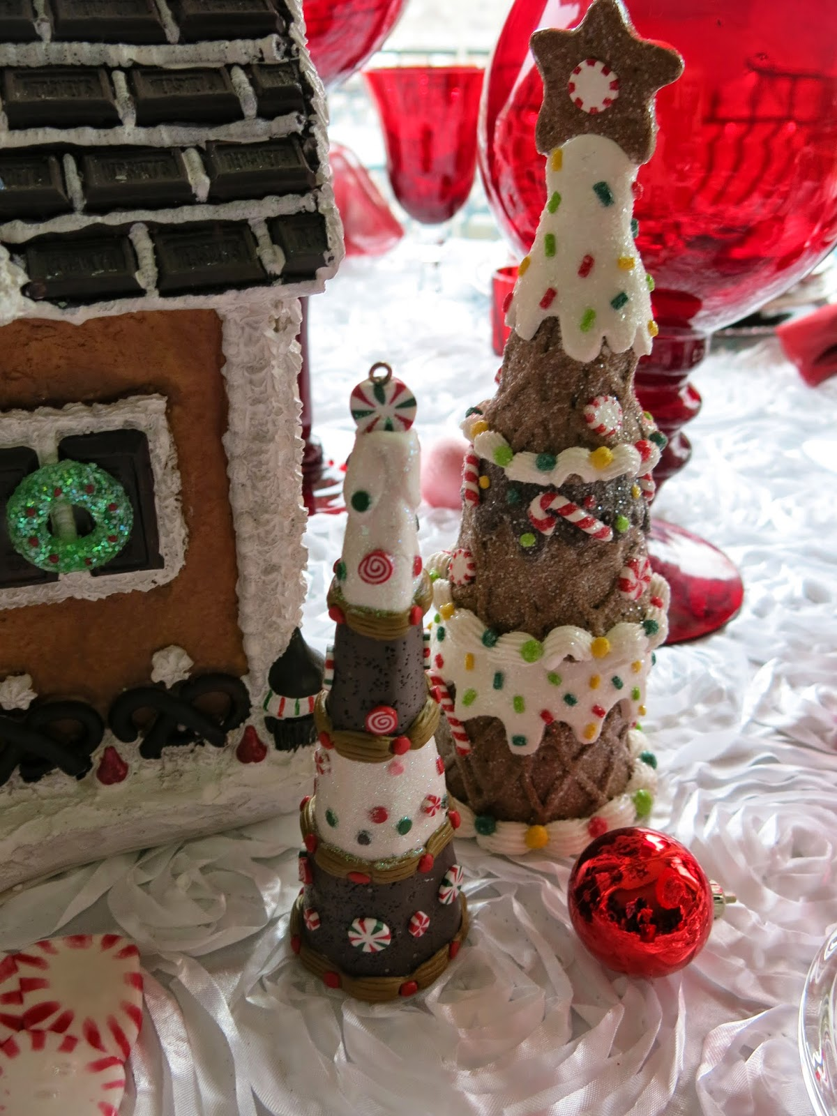 Gingerbread House And Peppermint Road Tablescape Purple