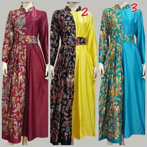 Gamis wanita model baju gamis batik wanita muslimah Gambar baju gamis batik wanita