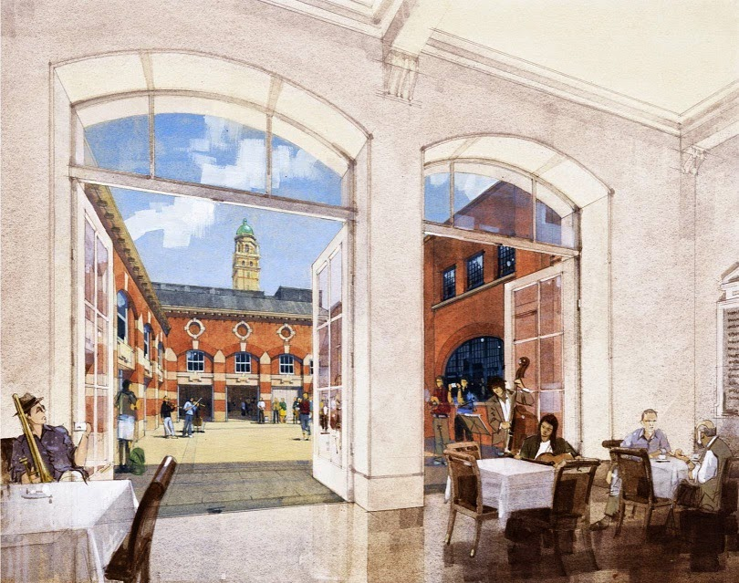 Artists Impression: New quad viewed from cafe in foyer at RCM - John Simpson architects