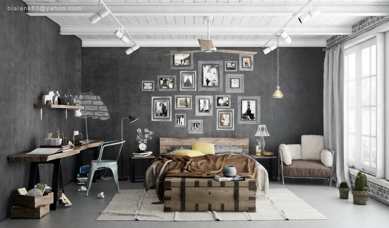 Industrial bedrooms interior design home design for Interior design bedroom grey