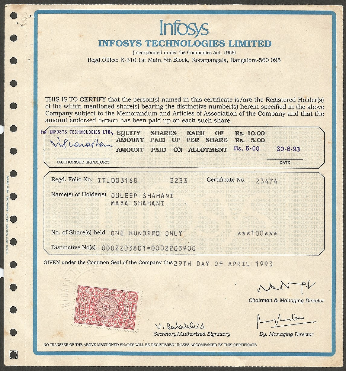 Infosys Share Certificate   Source: Google Images  Company Share Certificates