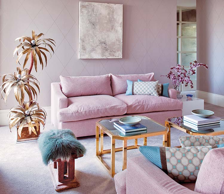 sofá terciopelo rosa palo claro