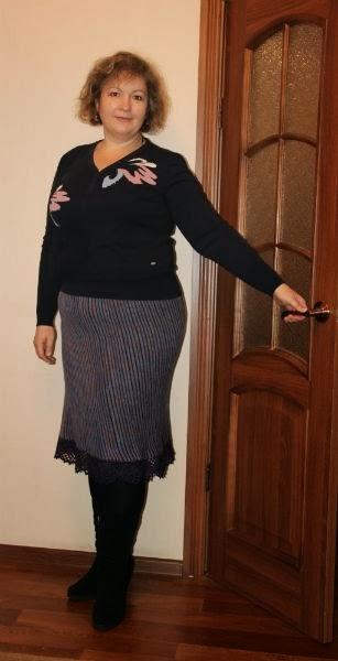 вязаная юбка для полных по косой