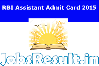 RBI Assistant Admit Card 2015