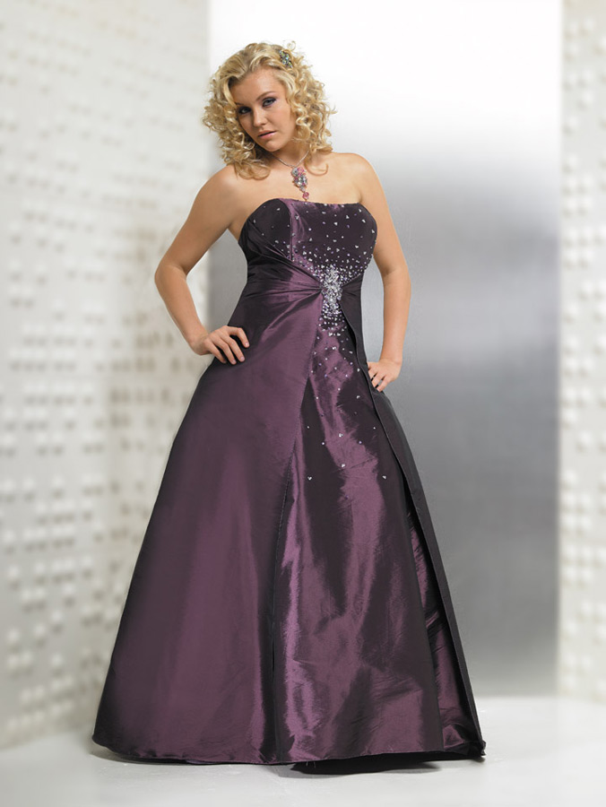 Plus size wedding gown with color weddingyuki com for Purple plus size dresses for weddings