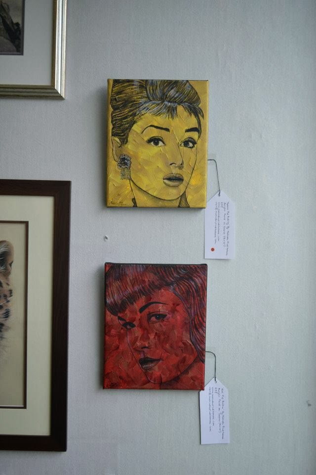 malinda prudhomme, exhibit here, exhibit here artists, harrow, uk, UK artshow, audrey hepburn, bettie page, original artwork