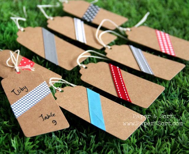 escort card place card made of sturdy kraft hang tag with scalloped top decorated with colorful masking fabric tape ribbon