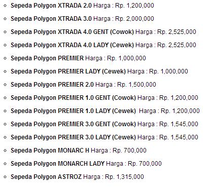 Daftar Sepeda Polygon Sekitar 2 Jutaan
