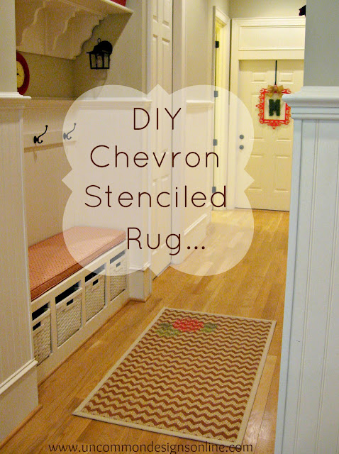 DIY Chevron Stenciled Rug with complete tutorial and supplies. A great home decor diy project.