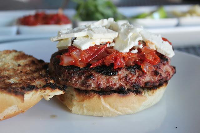 Turkey burgers with feta and tomato jam