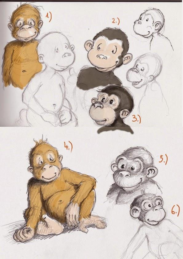 characterdesign, kinderbuchillustration, Affe, Äffchen, scribbles, Skizzen Kinderbuch