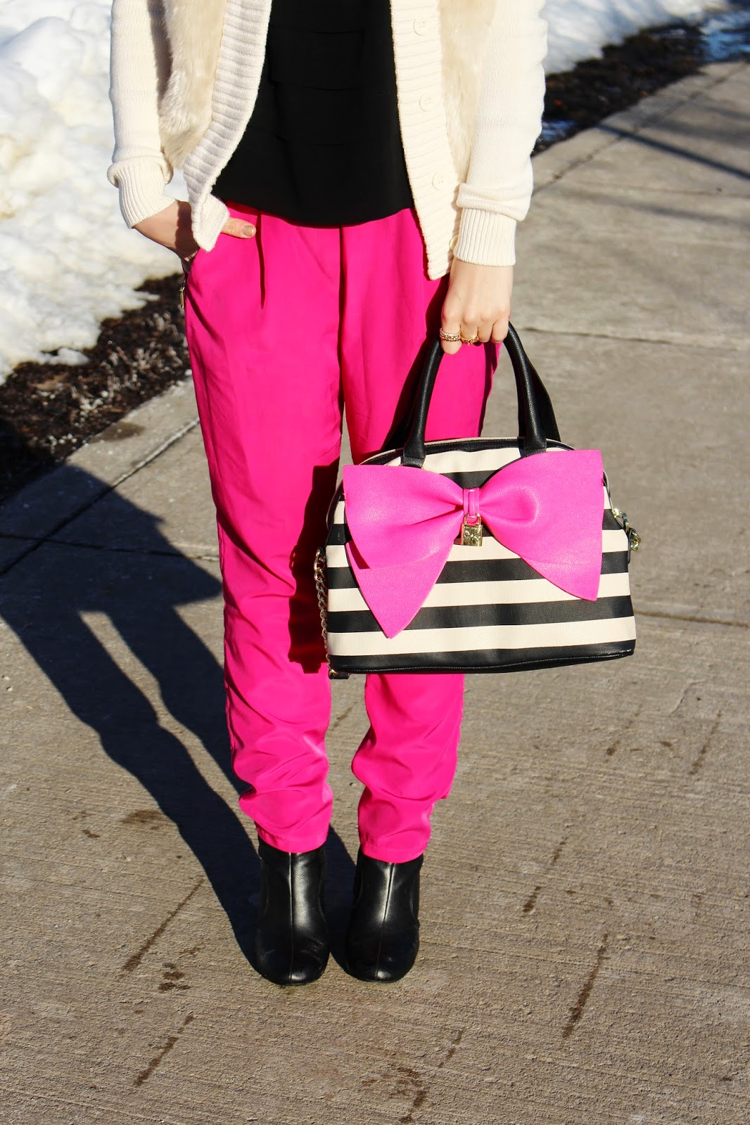 bijuleni,hot pink Zara pants,Betsey Johnson, big bow, Calvin Klein, fur, Old Navy, ankle boots