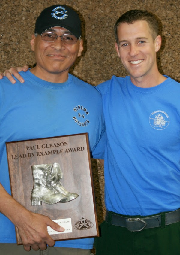 Wally Ochoa Jr. receiving 2014 Paul Gleason Lead by Example Award