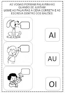 Atividades com junções de vogais ou encontros vocálicos