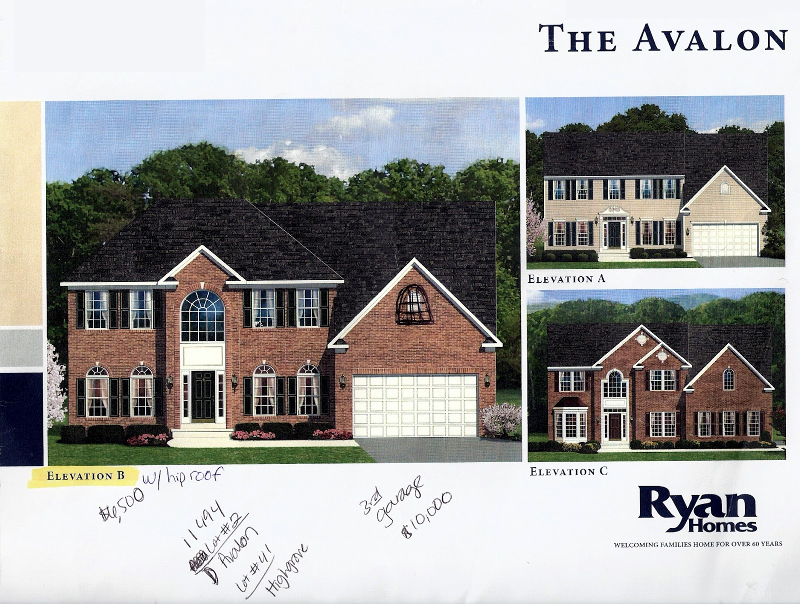 Building a ryan home avalon our options for Ryan home designs