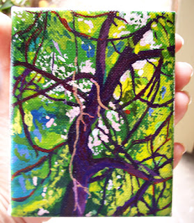 Miniature oak tree painting from life in acrylic ink